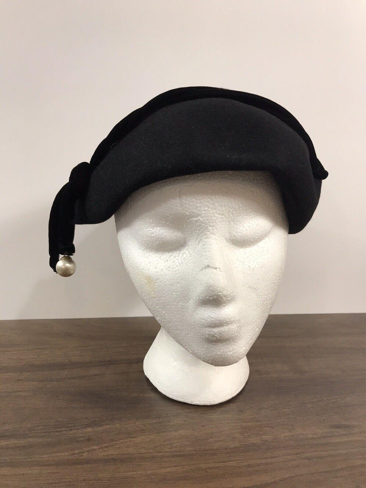 Vintage Marlea New York Baltimore Demi Chapeau Black Felt Hat Fascinator 22 ½