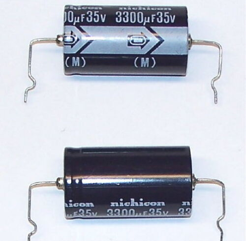 TWO AXIAL LEAD 2 pcs lot 3300uf 35V NICHICON electrolytic capacitor 35 volt cap