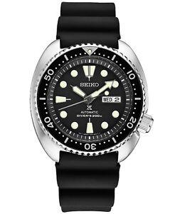 Seiko-Prospex-Automatic-Black-Dial-Silicone-Strap-Men-039-s-Diver-Watch-SRP777