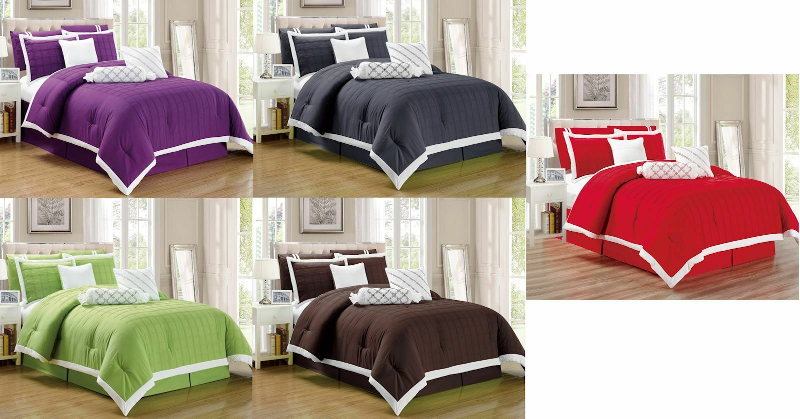 9 pc Pleated Microfiber Comforter Set Full, Queen, King and Cal King Größes