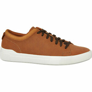 Aldo-Premium-Godia-Cognac-Brown-Leather-Perforated-Trainers-Sneakers-Shoes-UK6