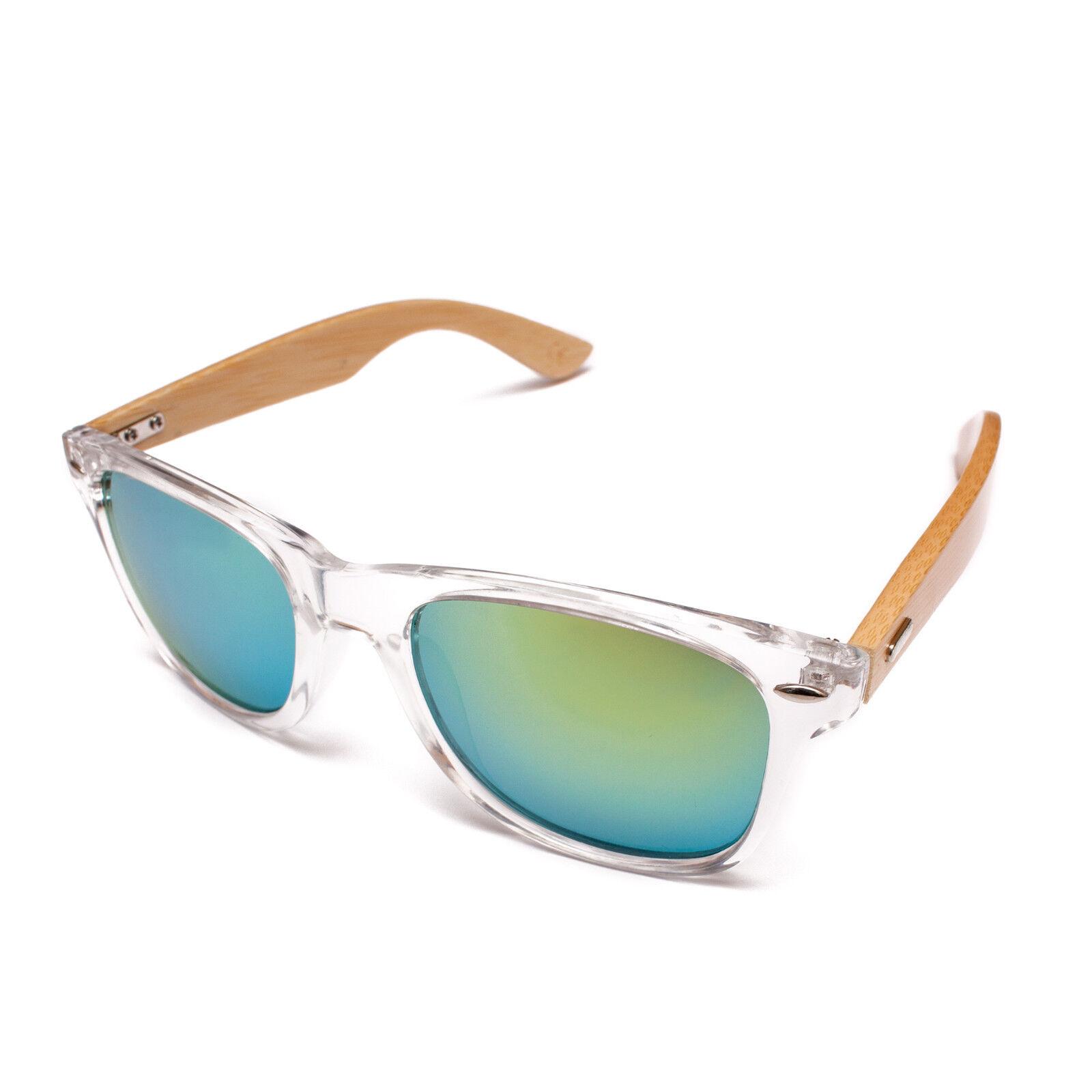 Clear Transparent Frame Sunglasses Bamboo Wood Mirror Green Blue Mens Womens Rad