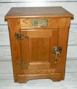 Vintage White Clad Antique Oak Ice Box