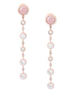 02fa81aad Michael Kors Womens Rose Gold Pink Quartz Drop Earrings Removable ...