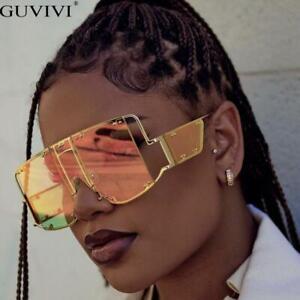 2021 Oversized Square Sunglasses Women Metal Rivet Mirror Shades Men Eyewear Hot