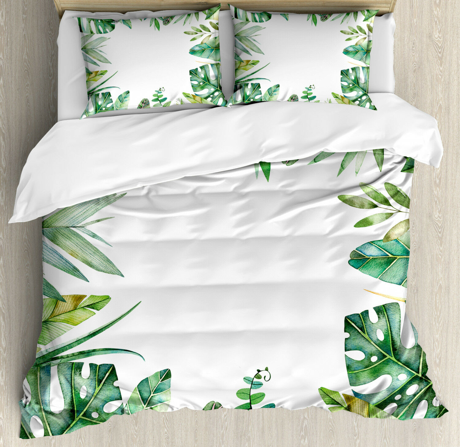 Plant Duvet Cover Set with Pillow Shams Jungle Themed Picture Print