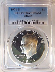 1971-S-Eisenhower-IKE-PCGS-PR-69-DCAM-CAMEO-SILVER-Dollar-DMPL-DPL-Deep-PF-PL