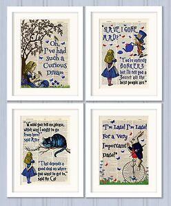 Set-of-4-Alice-in-Wonderland-Antique-Book-page-Art-Prints-A4-Nursery-Set-3-Blue