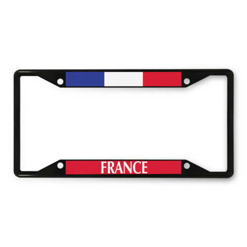 Metal License Plate Frame Vinyl Insert France Flag Places /& Travel Europe B