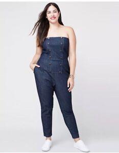 Details about RACHEL Rachel Roy Plus Size \'Tuxedo\' Inspired Denim Strapless  Jumpsuit NWT 18W