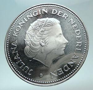 1970-Netherlands-Kingdom-Queen-JULIANA-Authentic-Silver-10-Gulden-Coin-i82418
