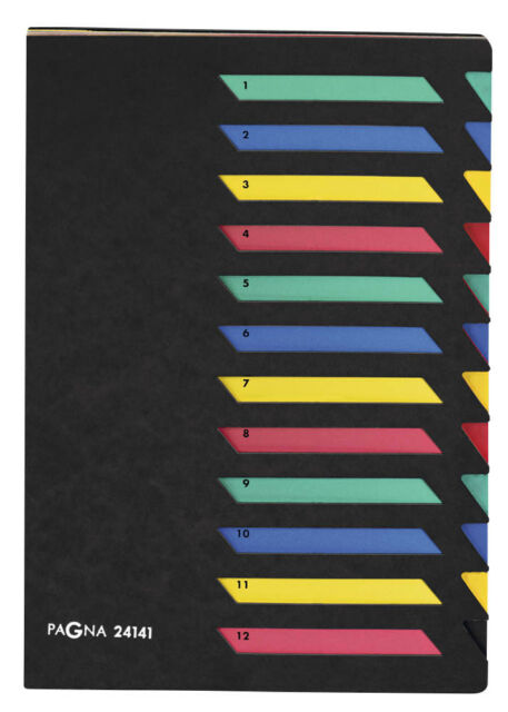 PAGNA Ordnungsmappe 12 Fächer schwarz