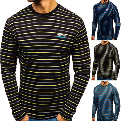 Longsleeve Shirt Sweatshirt Langarm Top Rundhals Gestreift Herren BOLF 1A1 Motiv