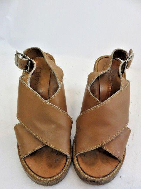 CHLOE  Tan Leather Wood Peep Toe   Block Heel Sandals SZ 36