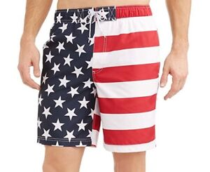 346b775a1d George Men's Patriotic American Flag Swim Trunks Bathing Suit Board ...