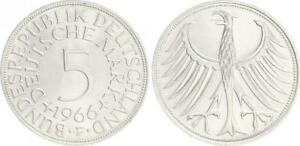 5 DM J.387 Silver Currency Coin 1966 F Without Randschrift Edge Smooth Prfr St