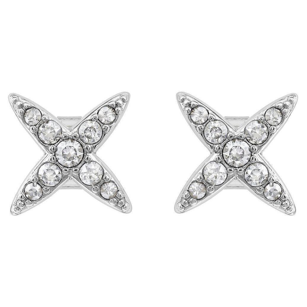 Adore Swarovski Elegance 4 Point Star Earrings Crystal Rhodium Plated