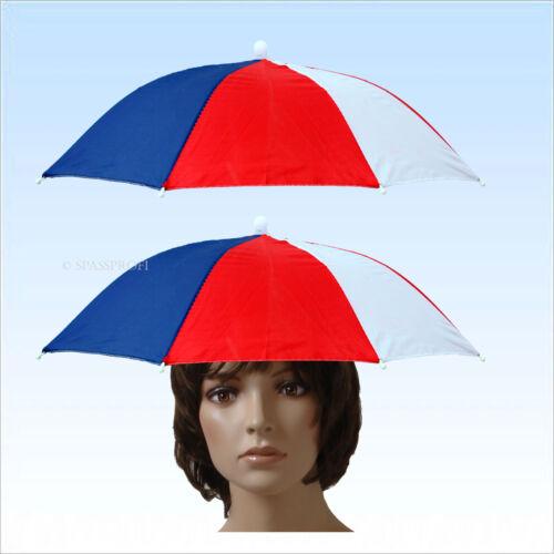 Weiß 2 x Regenschirm Blau  Kopfschirm Sonnenschirm für den Kopf Rot