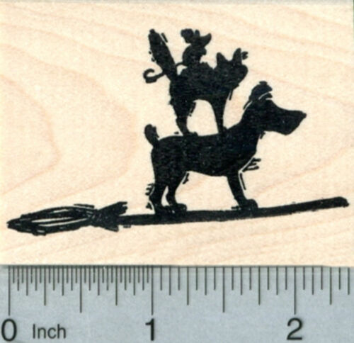 and Mouse H30821 WM Dog Witch Cat Halloween Pets Rubber Stamp