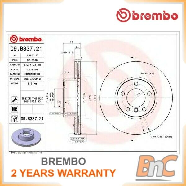 2x BREMBO Front Disque de frein Set BMW OEM 09B33721 34116855659