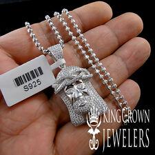 NEW REAL SILVER MICRO PAVE LAB DIAMONDS MINI JESUS CHARM PENDANT CHAIN NECKLACE