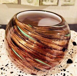 Fine Heavy Murano Style Blown Art Glass Copper Dazzle Metallic Swirl Vase MINT