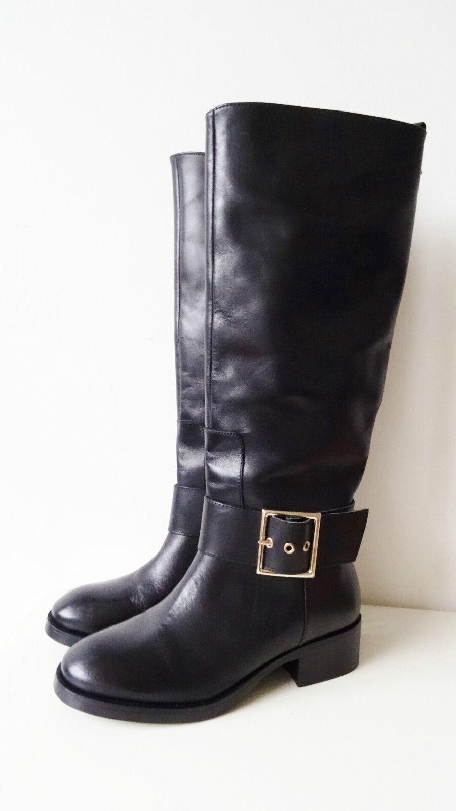Nuevas botas de montar a caballo de Estilo Zara Cuero Negro con detalle de hebilla Talla