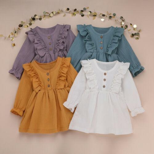 Toddler Kids Girl Autumn Solid Linen Button Ruffle Princess Party Dress Clothes