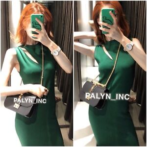 ffd0b231 NWT ZARA AW18 GREEN CUT OUT KNIT DRESS SHIFT DRESS __S M | eBay