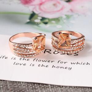 Frauen-Verlobungsring-engl-Funkeln-14K-Rose-Gold-Naturlicher-Morganit
