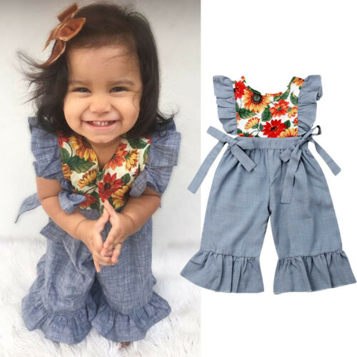 UK Toddler Baby Girls Clothes Ruffle Sunflowers Romper Wide Pants Outfit Summer