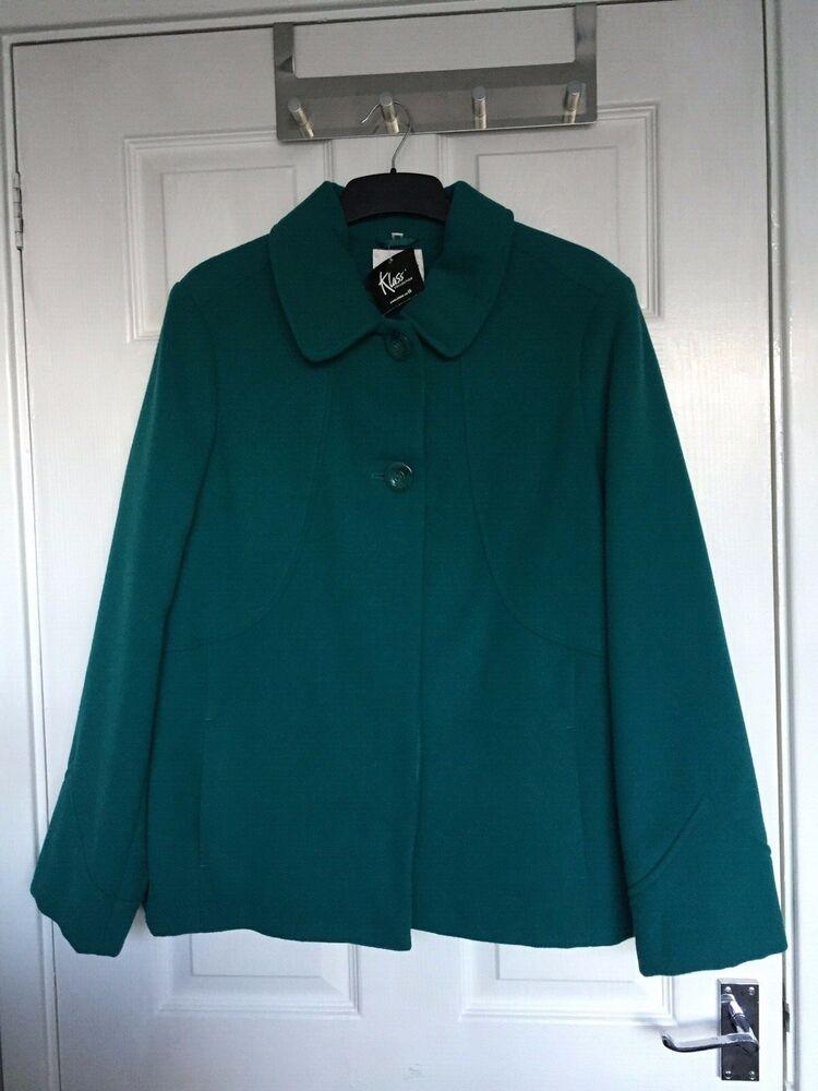 Klass Collection Eleganze Women's Teal Doublé Soirée Manteau Taille 16