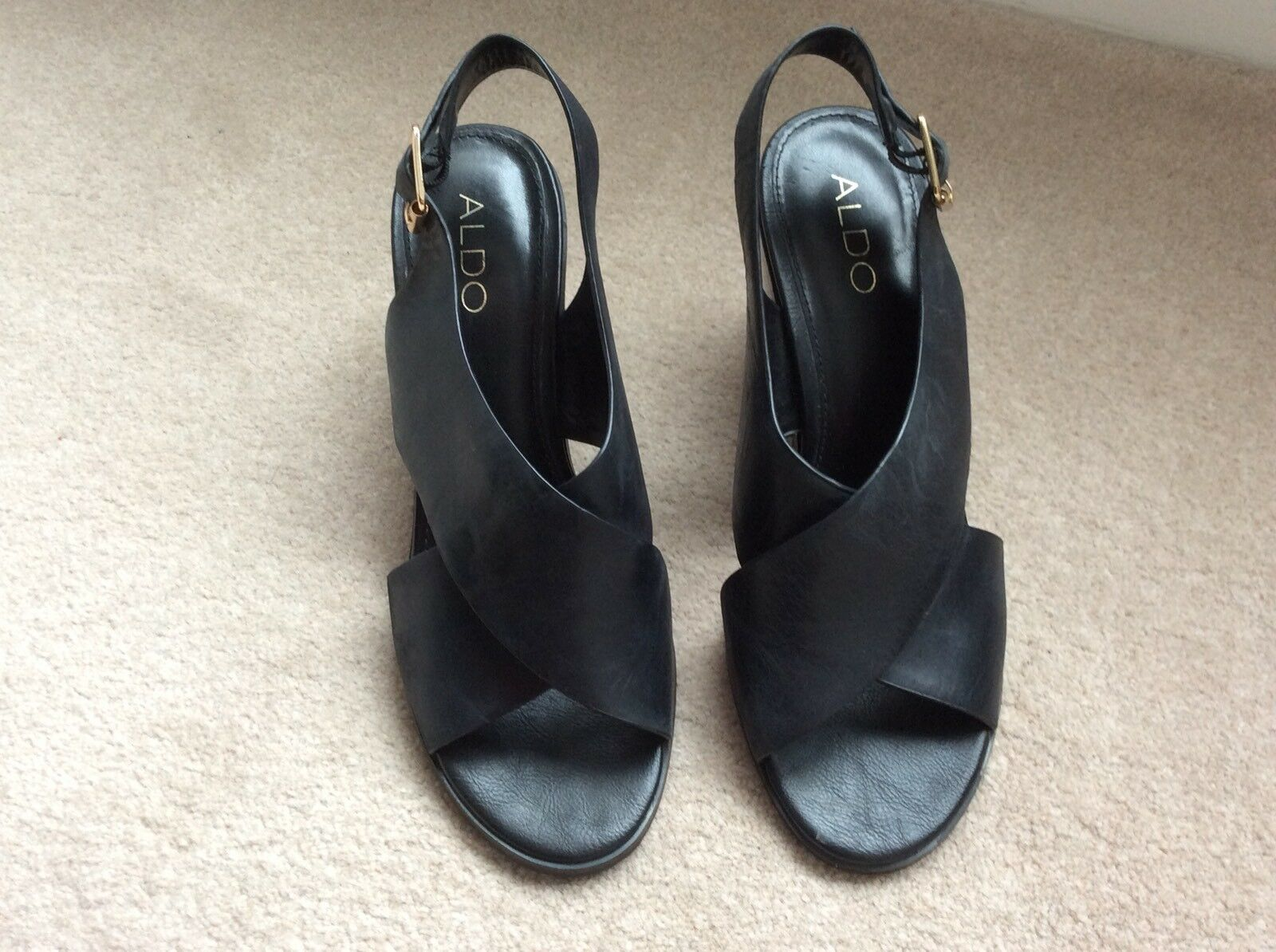 ALDO BLACK LEATHER STRAPPY HEELED SANDALS SIZE 7 40 WORN ONCE