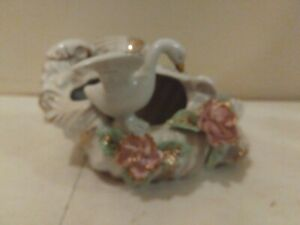 """Vintage White Shell Planter Vase with swan Made In Japan gold accents 5"""" long"""