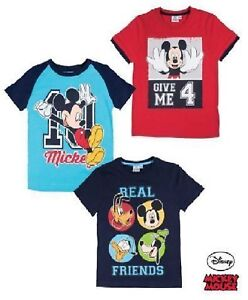 62bbcb0a5f3 Boys Disney Mickey Mouse T Shirt Kids Short Sleeve Red Blue Ages 2 3 ...