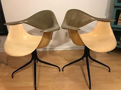 Herman Miller George Nelson Fiberglass Swag Arm Chairs 1958 Set Uber Rare!  2tone