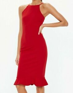 Missguided-Red-Scuba-Square-Neck-Frill-Hem-Midi-Dress-Size-12-New-With-Tags