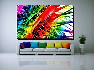 leinwand bild bilder xxl pop art abstrakt graffiti bunt rot gr n gelb bis 150x90 ebay. Black Bedroom Furniture Sets. Home Design Ideas