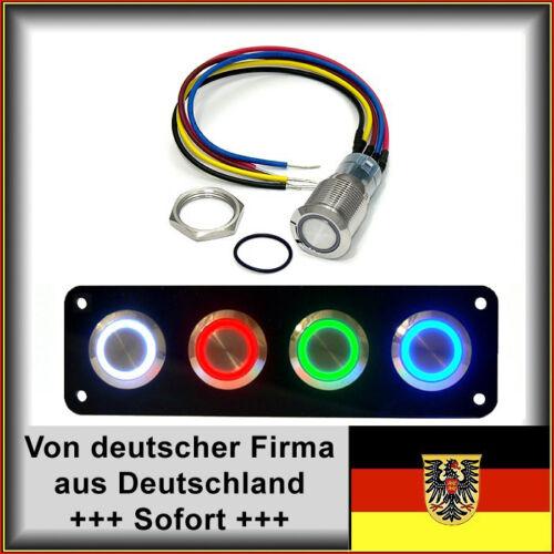 Taster 18mm LED gelb Vandalensicher Hupe Edelstahl Dichtung+Mutter mit Kabel