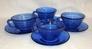 4-Hazel-Atlas-MODERNTONE-COBALT-BLUE-CUPS-amp-SAUCERS