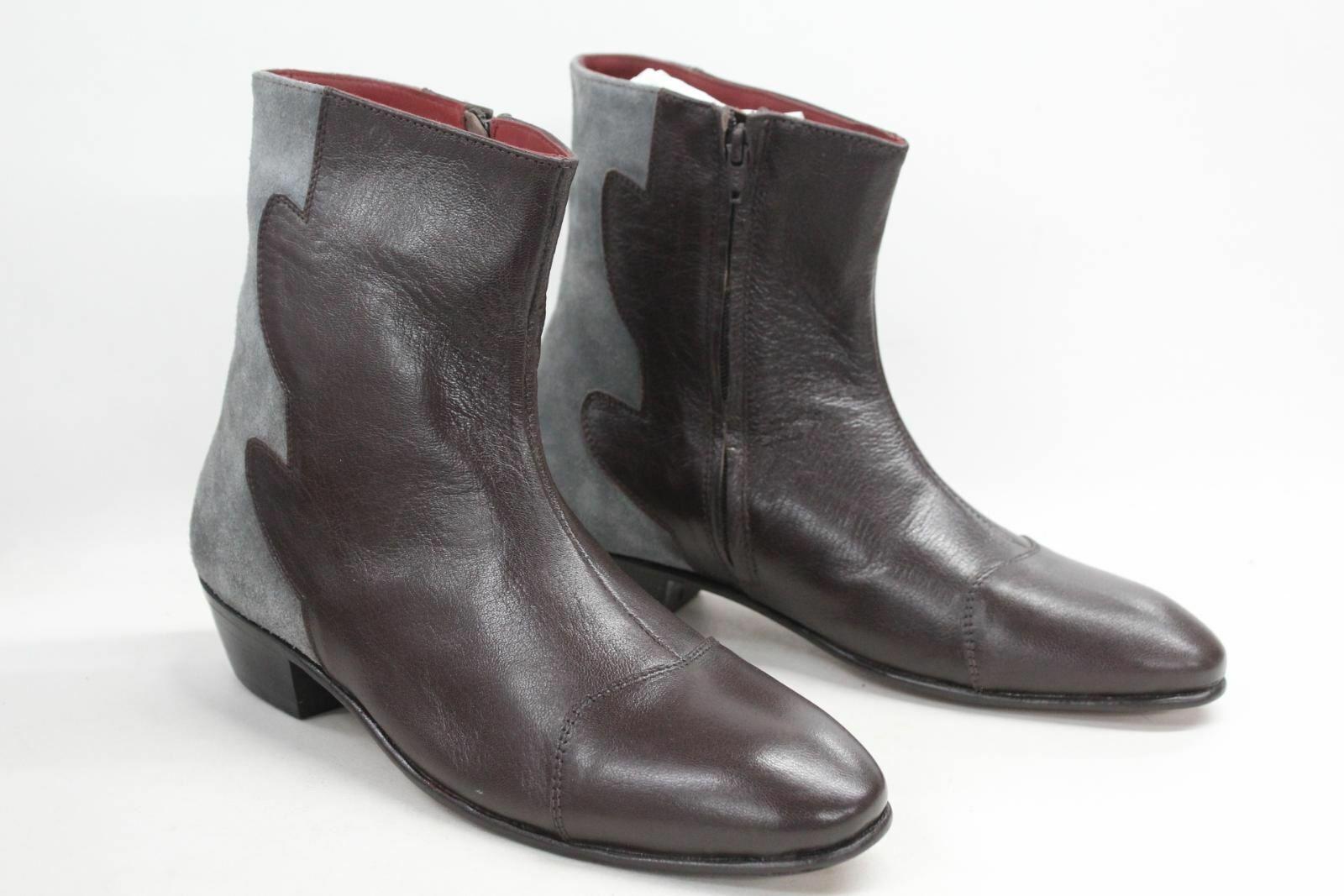 DISTINCT ADVANTAGE Men's Eccentric Brown Leather Pull On Ankle Boots UK9 BNIB