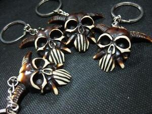 10 PCS Evil Black Skull Gothic Craft Key Ring Wholesales Male Keychain NG10