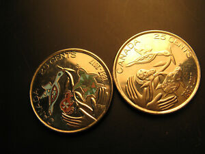 Canada-150-Years-Hope-For-A-Green-Future-Coloured-And-Plain-25-Cent-Coins-Set