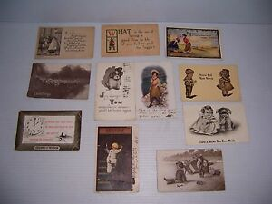 VINTAGE LOT OF 11 POSTCARDS HUMOROUS AND OTHER