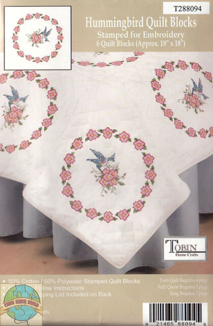 """Tobin Lancaster Stamped Embroidery 6 Quilt Blocks 18/"""" in x 18/"""" Made USA 8800//2"""