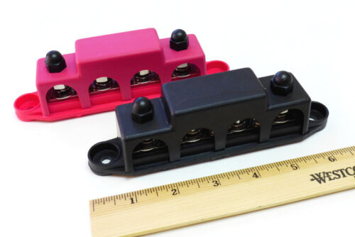 "FAST SHIPPING PAIR of Black 5//16/"" and Red 3//8/"" 4 Post busbars 250A // 48Vdc"