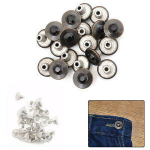 8pcs 17mm Replacement Jean Stud Buttons with Pins Hammer on Track Fly Denim