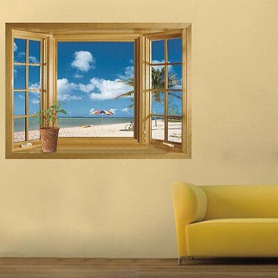 Holiday Sea Beach 3D Window View Wall Sticker Vinyl Art Decal Mural Decor xa