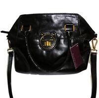 Elliott Lucca Leather Medium Satchel Tote Hand Bag Crossbody Purse Black