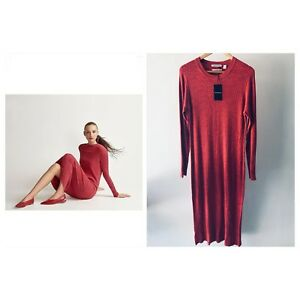 COUNTRY-ROAD-CR-LOVE-NEW-SZ-L-XL-printed-rib-dress-red-14-16